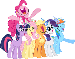mane six life of the party vectors by shadowandtwilight
