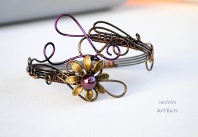 Wire wrapped upper arm cuff with purple  flower by IanirasArtifacts