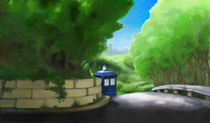 TARDIS in the Gardens by SynCallio