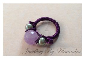 Wire Wrap Ring - Amethyst and Pearl by WhiteMagicPriestess
