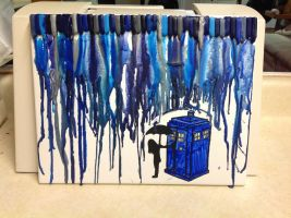 Crayon Tardis In The Rain by Hollabee13