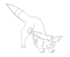 Umbreon Hiss Lineart by jaclynonacloud