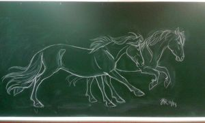 Blackboard ponies by Perhone
