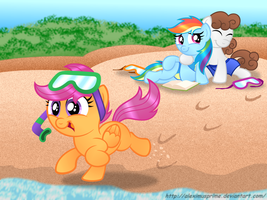 Commission:  Scoot's Day at the Beach by AleximusPrime