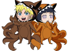 Happy Halloween 2014: Naruhina Kyuubi Chibi by Darkkitty669