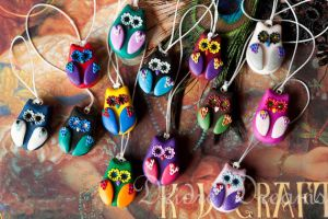 Kawaii Polymer Clay Owl Charm by DeidreDreams