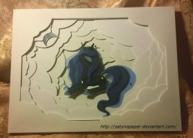 In the clouds. (Shadowbox with pony). by SatynaPaper
