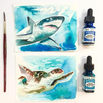 Shark and Sea Turtle Watercolor Minis by Lucky978