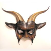 Leather Goat Mask in brown black and bone by teonova