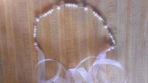 Light Pink Pearl Ribbon Necklace by Rini-Dragoone