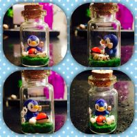 Polymer clay piplup bottle charm by Brownie314