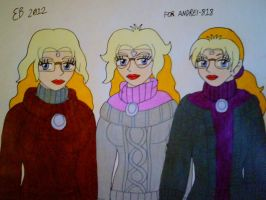Turtleneck Shirted Triplets by shnoogums5060