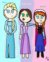 Elsa, Rapunzel, and Anna by pinkraindrops03