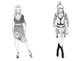 Tsunade and Mei - character design by CherryInTheSun
