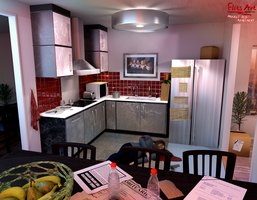 Kitchen (Clue #2) - Project Red Apartment by FlitsArt