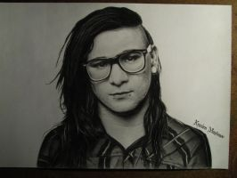 Skrillex Pencil Portrait by KrasenMaximov