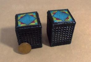 Miniature Stained Glass End Tables - Blue Diamond by Kyle-Lefort