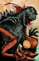 Godzilla vs. Kamacuras Colors by KillustrationStudios
