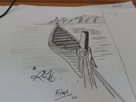 Boat on calm waters by Fiona-theartist