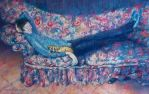 Stetching  Out and Relaxing - PASTEL Painting by AstridBruning