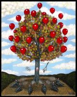 Balloon Tree And The Black Feathers Choir by Pascalism