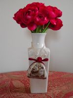 Silk Roses In Vase by Retoucher07030