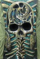 Skull and Ribs on Olive Drab by catbones