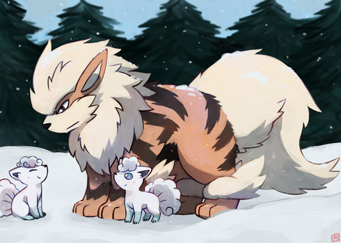 Arcanine and Vulpix by ieaka