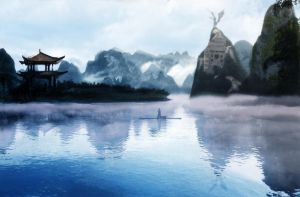 Chinese Mountain Matte Painting (FINAL blue gradie by ChaiZhenWei