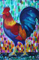 Rainbow Rooster by TinyTumbler