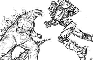 Godzilla vs Gipsy Danger w.i.p by Amrock