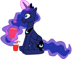 Princess Luna Sitting Down Eating and Drinking by Mighty355