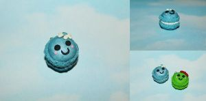 Polymer Clay Macaroon - Blue Pearl by CharmStop