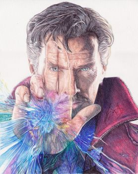 Doctor Strange Ballpoint Pen Drawing - DeMoose Art by demoose21
