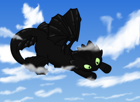 Toothless in the Clouds by cloud-song