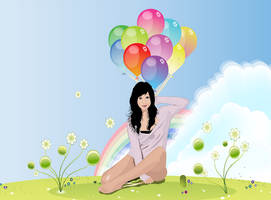 katie and Her Rainbow Balloons by TL-Designz