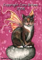 Winged Calico Cat Fairy ACEO by candcfantasyart