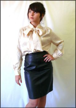 Different view of bow blouse and black skirt by veronarmon