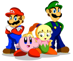 Mario, Luigi, Kirby, and Tiff by Koopa-Master