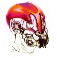 Helmet Concept Art -Random Sketches- Colour test by DarkilianRaven