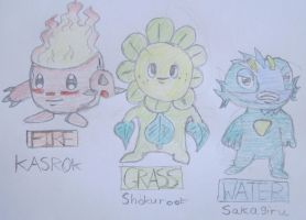 Fakemon-Malachite Region Starters by Artooinst