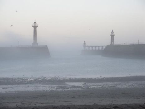 Whitby piers on Xmas morning by Wilgils