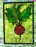Stained Glass Beet Panel by trilobiteglassworks
