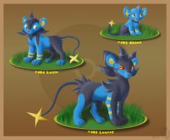 Shinx, Luxio and Luxray by Sirzi