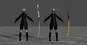9S + Swords (Just static models) by TheForgottenSaint47
