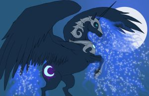 Nightmare Moon MLP flat colors by fiszike