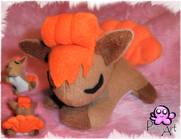 sleeping vulpix plush by PinkuArt