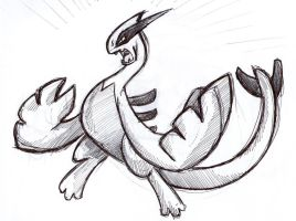 Pen sketch: angry Lugia by lalindaaa
