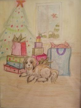 Pooch and Presents by Meowicorn