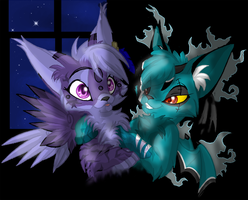 Moonlight- Ryuki and Miko Feli by Daffupanda